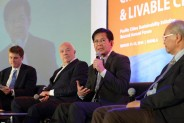 Sec. Lacson speaking at the opening panel and event.