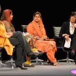 Humaira on stage with Sharmeen Obaid-Chinoy and Cristiane Amanpour