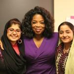 Khalida Brohi (left), Oprah Winfrey, and Humaira Bachal (right)