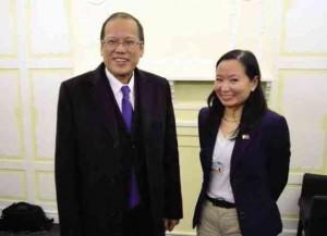 Doris Dumlao (right) with the Philippine President Aquino at the World Economic Forum in Davos, Switzerland.