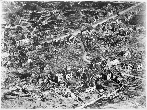 Aerial View of the Ruins of Vaux in France