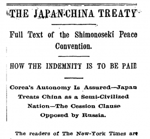 The Treaty of Shimonseki in the New York Times