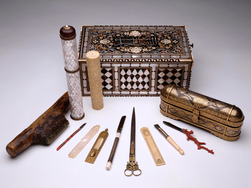 Calligraphers' tools, storage box, and pen cases from Turkey, Iran, and India.