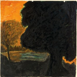Untitled (Landscape: large dark tree silhouetted against orange sky)