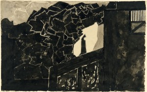 Untitled (Architectural setting with a silhouetted figure)
