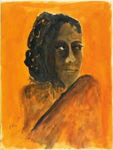 Untitled (Woman's head against bright orange background)