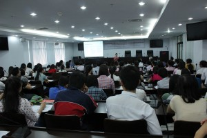 Dr. Astrid Tuminez giving a lecture to students at Ton Duc Thang University in Ho Chi Minh City.