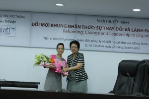 Dr. Astrid Tuminez with Madame Ton Nu Thi Ninh at Ton Duc Thang University in Ho Chi Minh City.